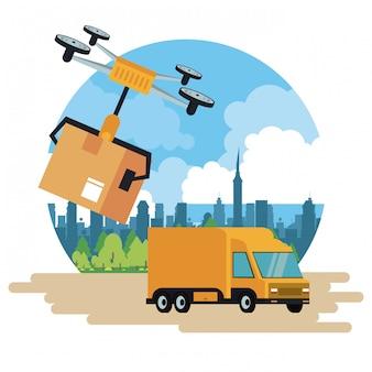 Drone de livraison et véhicule en ville