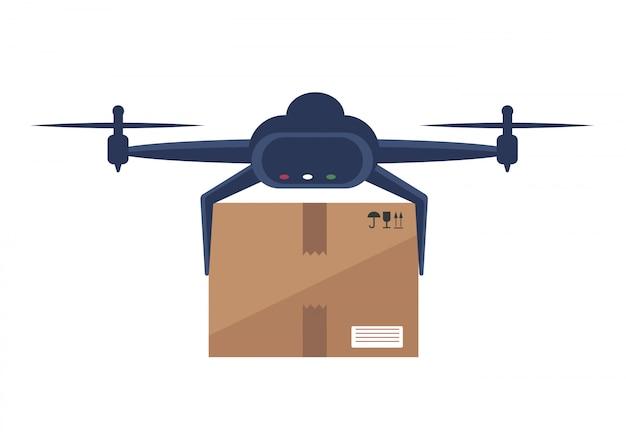 Le drone livre des boîtes. concept de livraison sans contact. drone aérien à distance avec boîtes. service de livraison express sans contact. mode de vie d'auto-isolement. livraison sans contact pendant la quarantaine