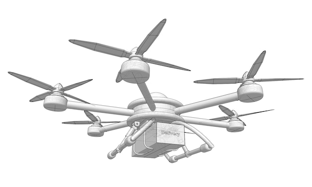 Le drone livre la marchandise. illustration vectorielle volumétrique.