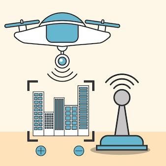 Drone technologie antenne signal connecté emplacement de mise au point