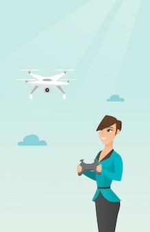 Drone volant jeune femme caucasienne