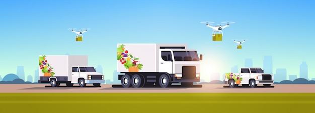 Drones quadcopters et camionnettes réalistes avec des légumes biologiques sur l'autoroute service de livraison de nourriture de ferme végétalienne naturelle fond de paysage urbain plat horizontal