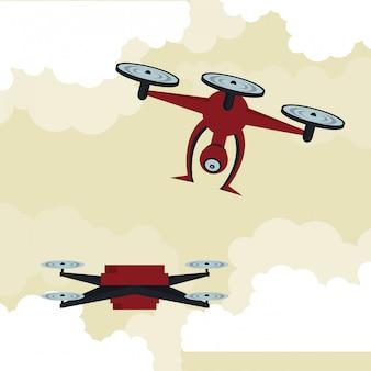 Drones volant dans le ciel