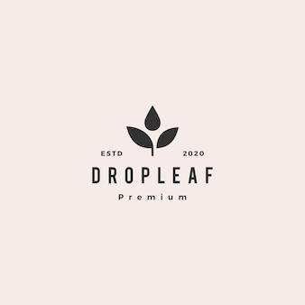 Drop leaf logo icône vintage rétro hipster