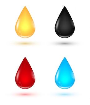 Drops icon set. collection de vecteur de gouttes d'huile, de sang, de pétrole et d'eau.