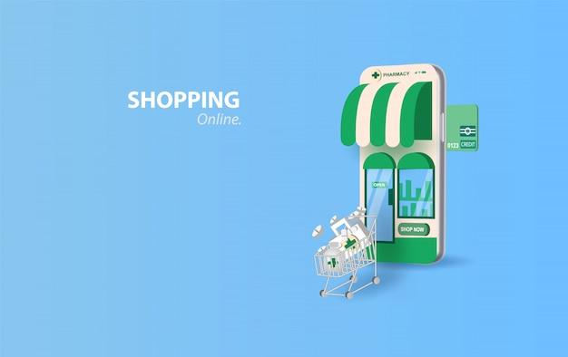Drugstore online.pills acheter en ligne avec le concept de smartphone. écran de dispositif de pharmacie en ligne de soins de santé mobile.medicine set bouteille de pilules pour patient.paper art et artisanat style vector illustration