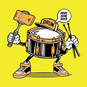 Drum selfie character design