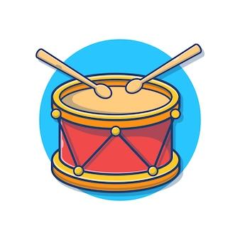 Drum snare avec illustration de dessin animé de bâtons