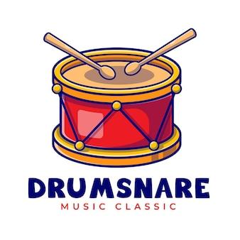 Drum Snare Avec Modèle De Logo De Dessin Animé De Bâtons Vecteur Premium
