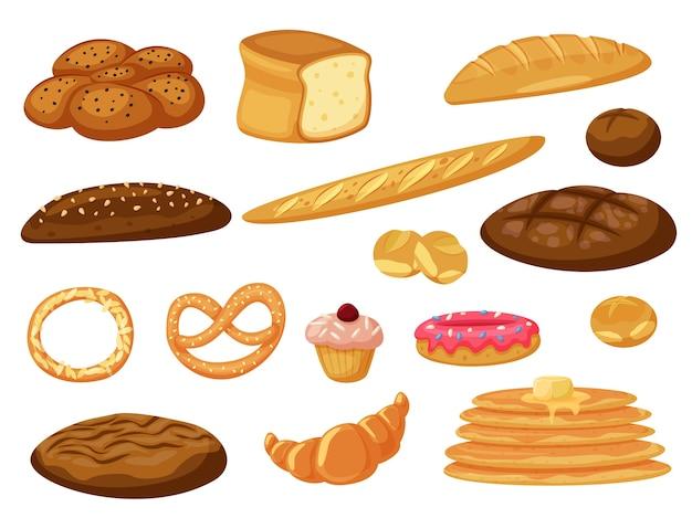 Du pain frais et des crêpes, des brioches de pâtisserie isolé sur blanc
