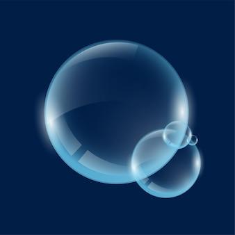 Du savon ou de l'eau transparents réalistes font des bulles de grandes sphères de verre translucides avec des reflets et des ombres dessus