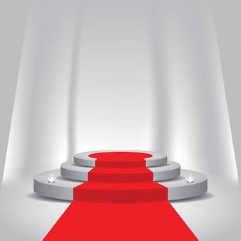 Du tapis rouge au podium avec des projecteurs