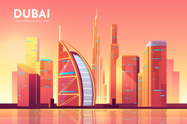 Dubaï, émirats arabes unis illustration d'architecture de paysage urbain.