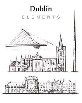 Dublin définir des bâtiments de croquis isolés sur blanc