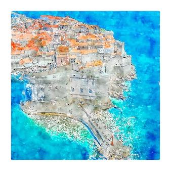 Dubrovnik croatie aquarelle croquis illustration dessinée à la main