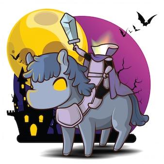 Dullahan mignon à la pleine lune, personnage d'halloween