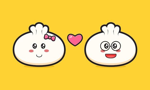 Dumpling tomber amoureux cartoon icône vector illustration. concevoir un style cartoon plat isolé