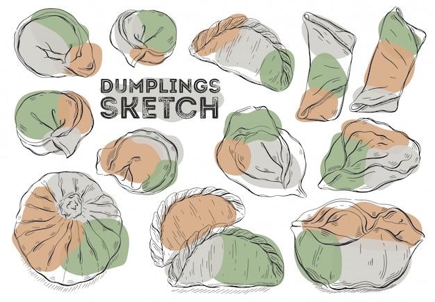 Dumplings sketch set. cuisine de dessin à la main. tous les éléments sont isolés en blanc.