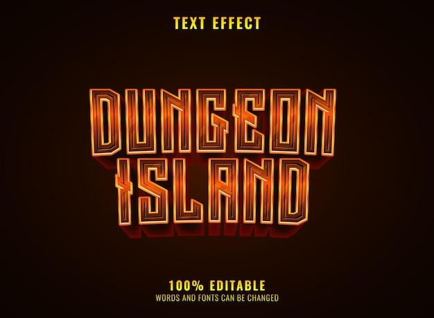 Dungeon island fantasy effet de texte du logo du jeu rpg médiéval