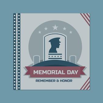 Duotone ornemental memorial day general instagram post