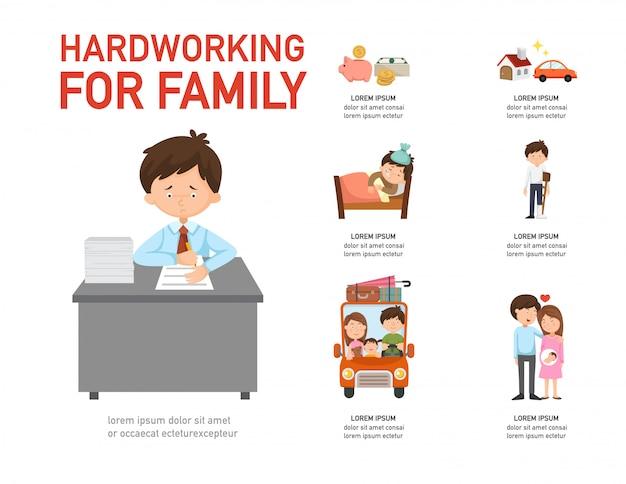 Dur au travail pour l'infographie familiale, illustration vectorielle.