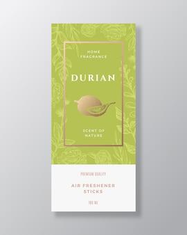 Durian parfum d'ambiance abstrait vecteur étiquette modèle croquis dessinés à la main fleurs feuilles fond et...