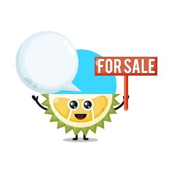 Durian à vendre mascotte de personnage mignon