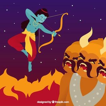 Dussehra fond avec le feu