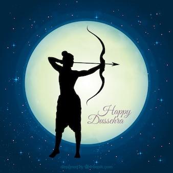Dussehra fond de nuit avec la silhouette de rama