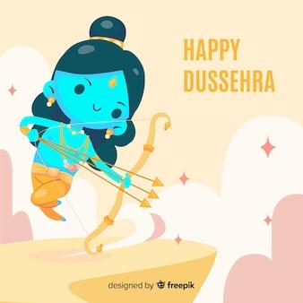 Dussehra heureux fond style dessiné à la main