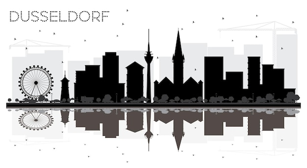 Dusseldorf allemagne city skyline silhouette noir et blanc avec des réflexions vector illustration