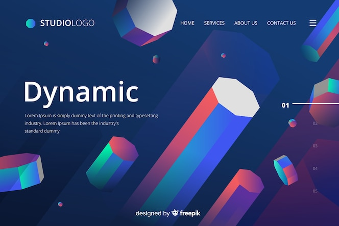 Dynamic landing page géométrique 3d