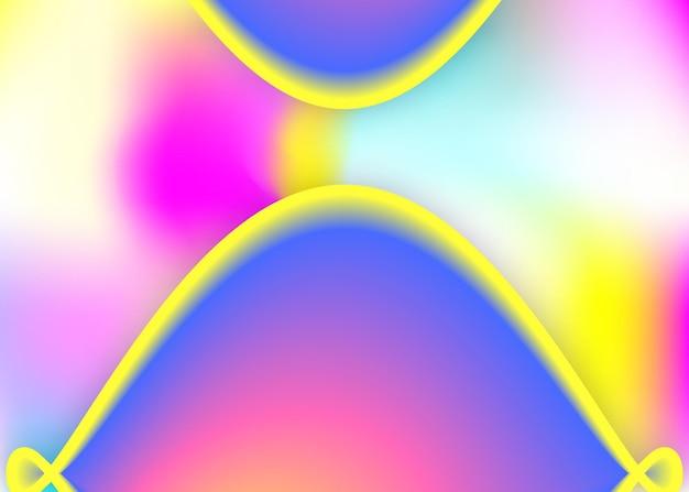 Dynamique des fluides. flyer futuriste, mise en page du rapport. maille dégradée vive. toile de fond holographique 3d avec mélange tendance moderne. fond dynamique fluide avec des formes et des éléments liquides.