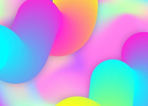 Dynamique des fluides. toile de fond holographique 3d avec mélange tendance moderne. maille dégradée vive. fond d'écran vibrant, composition de livre. fond dynamique fluide avec des formes et des éléments liquides.