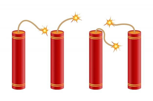 Dynamite avec illustration de fusible brûlant isolé sur blanc
