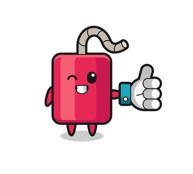 Dynamite mignonne avec le symbole du pouce levé des médias sociaux, design de style mignon pour t-shirt, autocollant, élément de logo