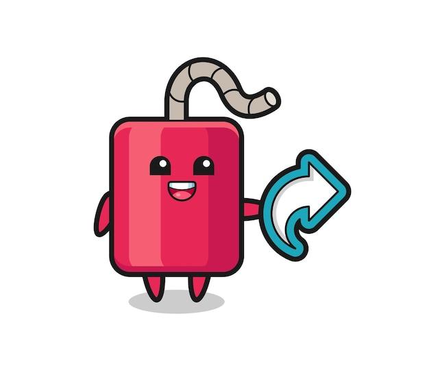La dynamite mignonne tient le symbole de partage des médias sociaux, la conception de style mignon pour le t-shirt, l'autocollant, l'élément de logo