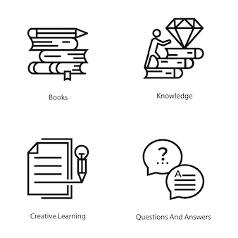 E apprentissage ligne vector icons set