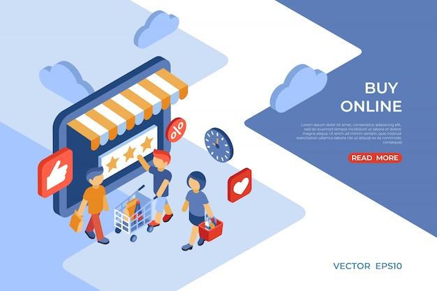 E-boutique acheter la page de destination isométrique de la boutique en ligne avec des clients satisfaits