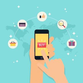 E-commerce, commerce électronique, achats en ligne, paiement, livraison, processus d'expédition, vente. concept d'infographie.