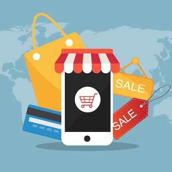 E-commerce icône plate vector illustration concept