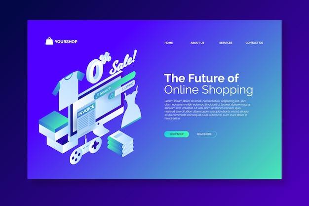 E-commerce isométrique - pages de destination