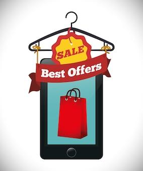 E-commerce traite des icônes de vente