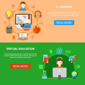 E learning banner set