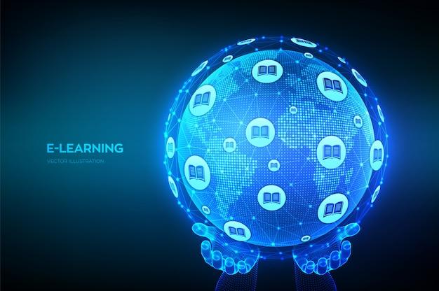 E-learning. concept technologique innovant de l'éducation en ligne.