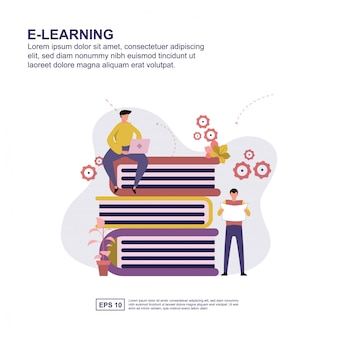 E-learning design plat illustration vectorielle concept.