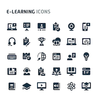 E-learning icon set. série d'icônes fillio black.