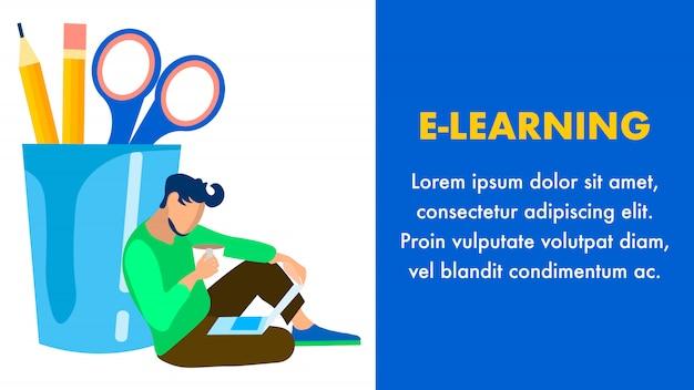 E learning, modèle de bannière plate d'éducation en ligne