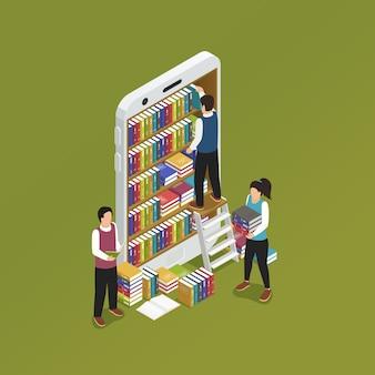 E-learning smartphone isométrique