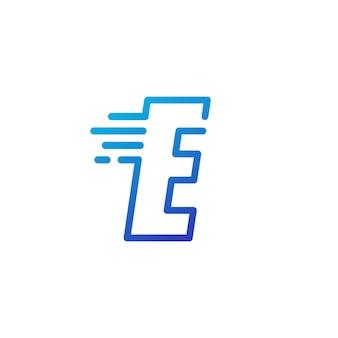 E lettre dash rapide rapide marque numérique contour logo vector icône illustration